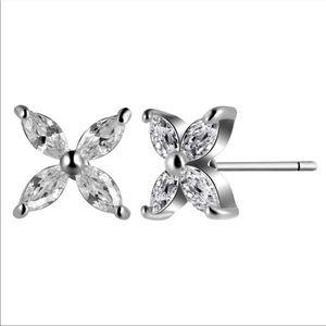 Jewelry - Four Leaf Clover Flower CZ Earrings